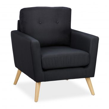 Retro Sessel schwarz Gesamtansicht