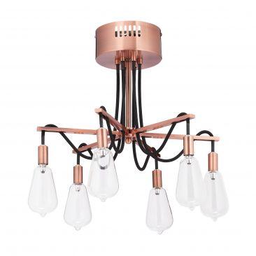 Deckenlampe 6-flammig in Rosa Gesamtansicht
