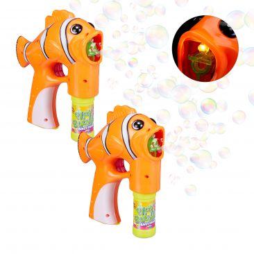 2x Pistolet à bulles de savon Poisson Clown LED machine à bulles enfant adulte