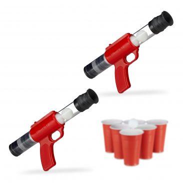 2 x Ballpistole Popper Gun Outdoor Beer Pong 10 Bälle Indoor Spielzeug Druckluft