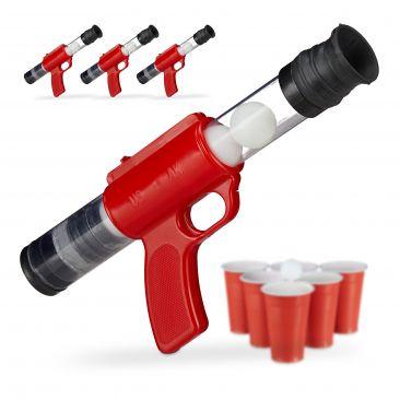 4 x Ballpistole Popper Gun Outdoor Beer Pong 20 Bälle Indoor Spielzeug Druckluft