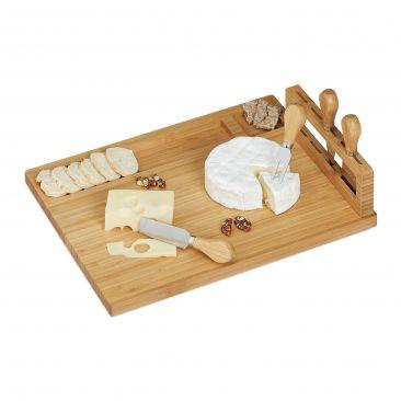 Bambus Käsebrett mit Besteck Gesamtansicht