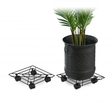 Set 2 soportes para macetas con ruedas