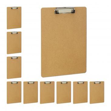 10 x Klemmbrett A4, Clipboard Klammer, Schreibplatte Büro, Schreibbrett MDF