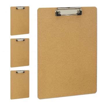 4 x Klemmbrett A4, Schreibplatte MDF, Clipboard Büro, Schreibbrett Klammer