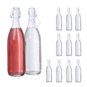 Set de 12 botellas de cristal vacías