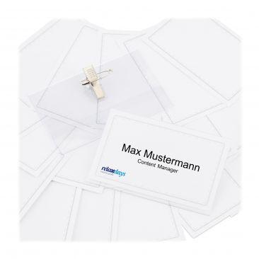 200 x Namensschild PVC, Ansteck-Namensschilder, Kartenhülle Clip-Namensschilder