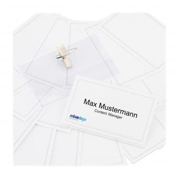500 x Namensschild PVC-Namensschilder Ansteck-Namensschild Clip Kartenhülle