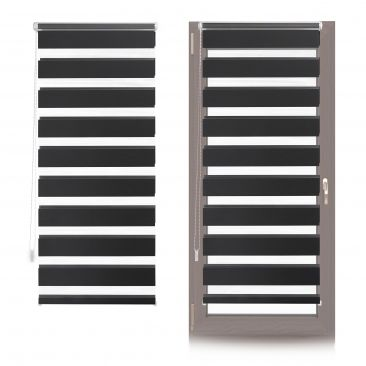 2 x Doppelrollo Klemmfix Fensterrahmen, Duorollo schwarz transparent Kettenrollo