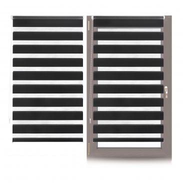 2 x Doppelrollo gestreift, Klemmfix Innenrollo schwarz-transparent Streifenrollo