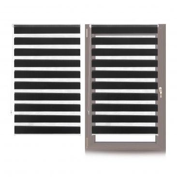 2 x Doppelrollo Klemmfix Blickschutz-Rollo Innenrollo 90x150cm schwarz gestreift
