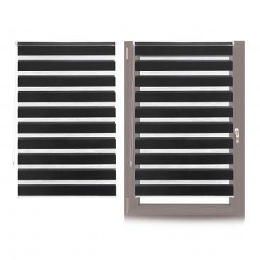 2 x Doppelrollo Klemmfix Fensterrollo, Ziehrollo 100x150cm schwarz gestreift