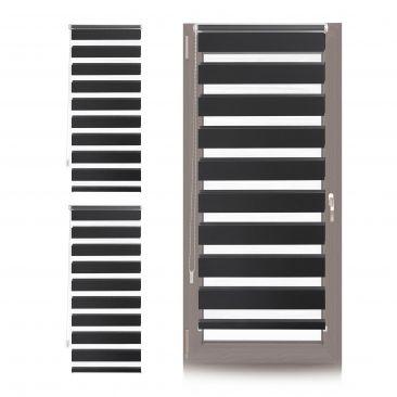 3 x Doppelrollo Klemmfix 60x150, Jalousie Rollo schwarz Streifen, Klemmrollo