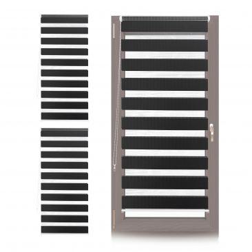 3 x Doppelrollo Klemmfix Vorrichtung, Seitenzugrollo Duorollo schwarz 70cm breit