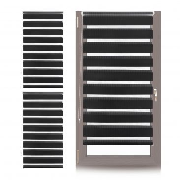 3 x Doppelrollo Klemmfix 80cm breit, Fensterrollo Türrollo schwarz, Duorollo