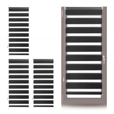 4 x Doppelrollo Klemmfix, Rollo zum Einhängen, Fensterrollo 60x150, schwarz