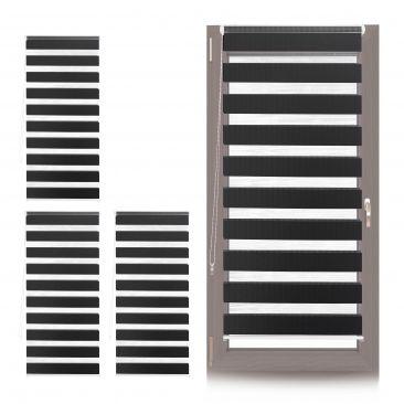 4 x Doppelrollo 70x150, Fenster Klemmfix Rollo Duo schwarz transparent Zugrollo