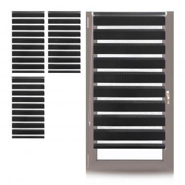4 x Doppelrollo Klemmfix Halterung verschiebbar, Fensterrollo schwarz 80cm Rollo
