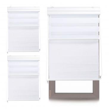 3 x Doppelrollo 70x160 Innenrollo Tageslichtrollo Fensterrollo weiß Thermorollo
