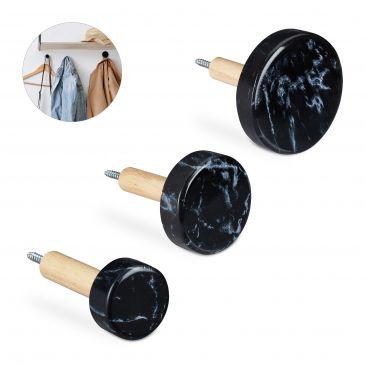 3 Wandhaken Holz in Marmor-Optik