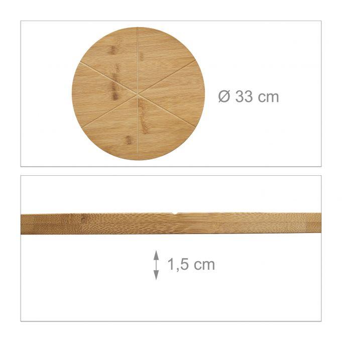 Plato de bambú para cortar pizza 3