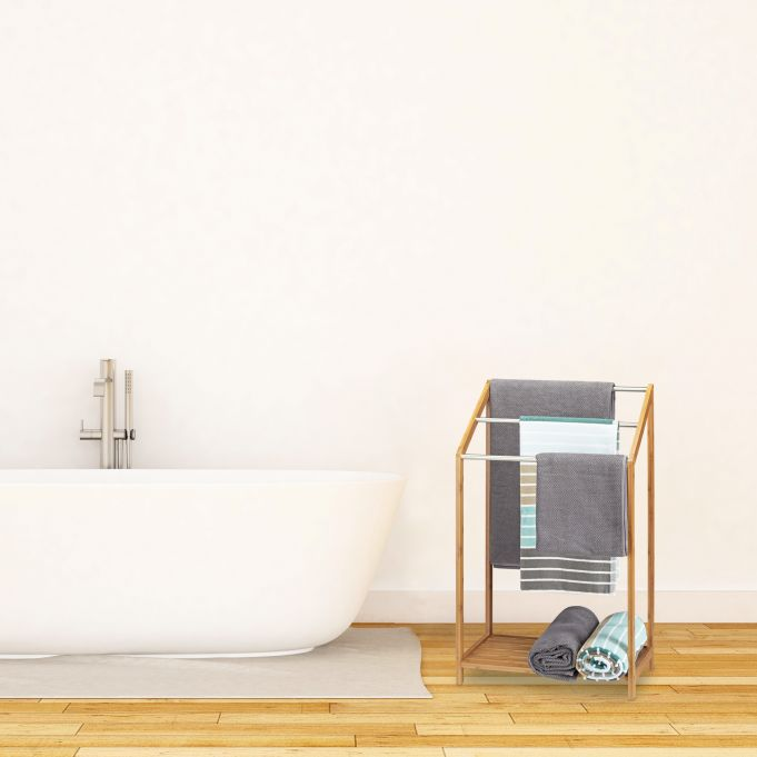Stojak wieszak ręczniki ubrania z półką2