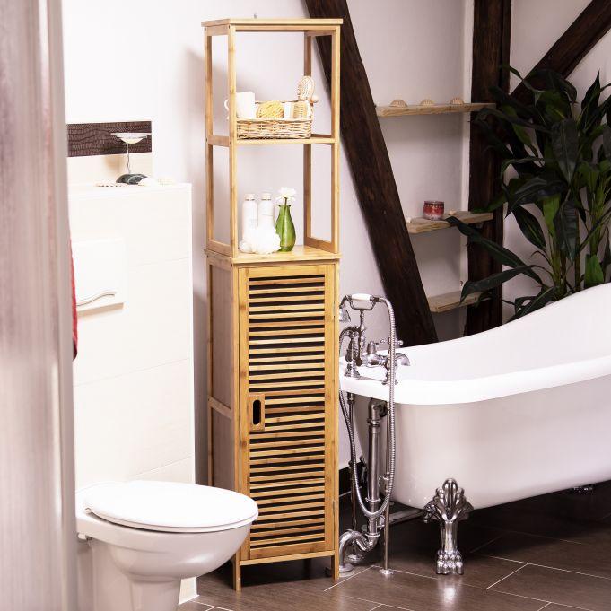 Mobile a colonna per il bagno in bambù2