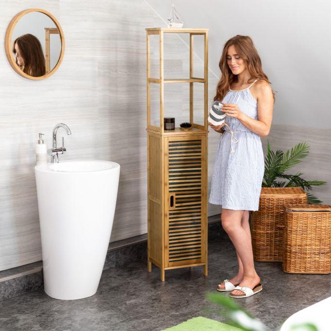 Mobile a colonna per il bagno in bambù3