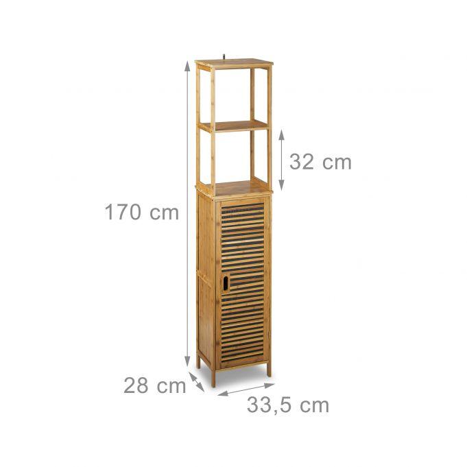 Mobile a colonna per il bagno in bambù4