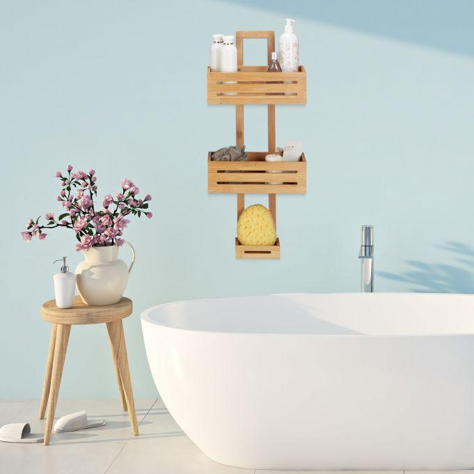Mensola per doccia in bambù2