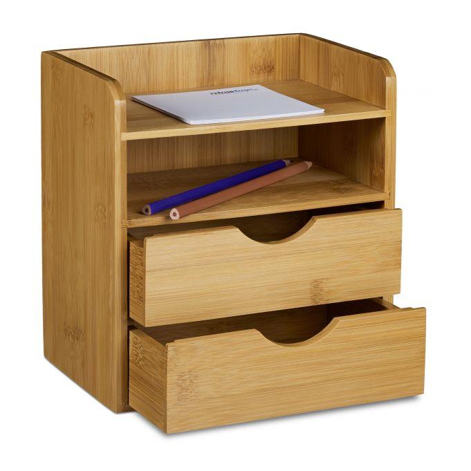 Schreibtisch-Organizer Bambus Schubladen2