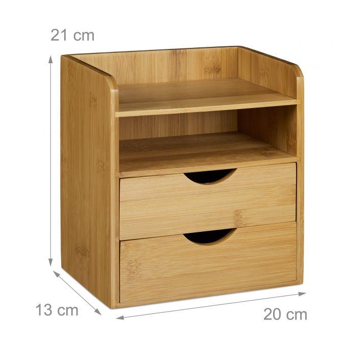 Schreibtisch-Organizer Bambus Schubladen3