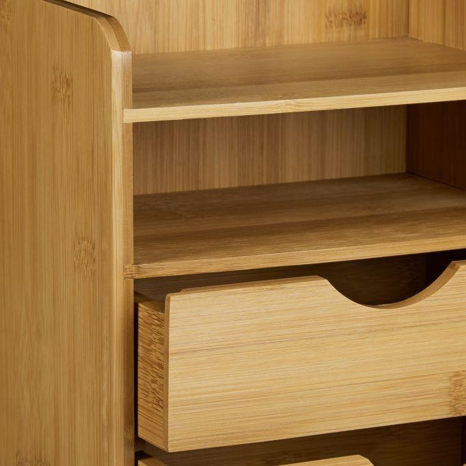 Schreibtisch-Organizer Bambus Schubladen4