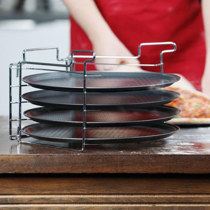 Set 4 bandejas pizza horno con soporte2