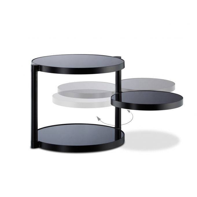 Mesa auxiliar negra con balda giratoria4