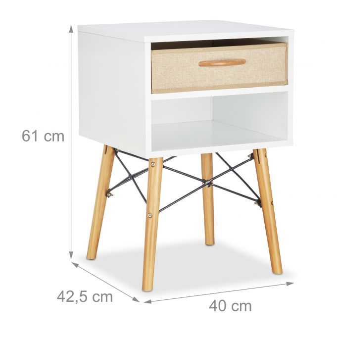 White Nightstand with Foldable Drawer4