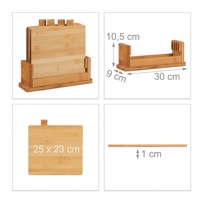 Cutting Board Set of 4 with Stand4