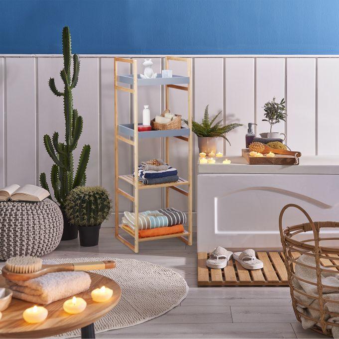 Estantería de bambú con cuatro estantes2