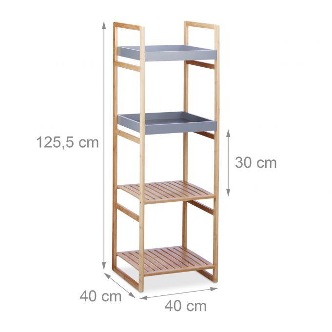 Estantería de bambú con cuatro estantes4