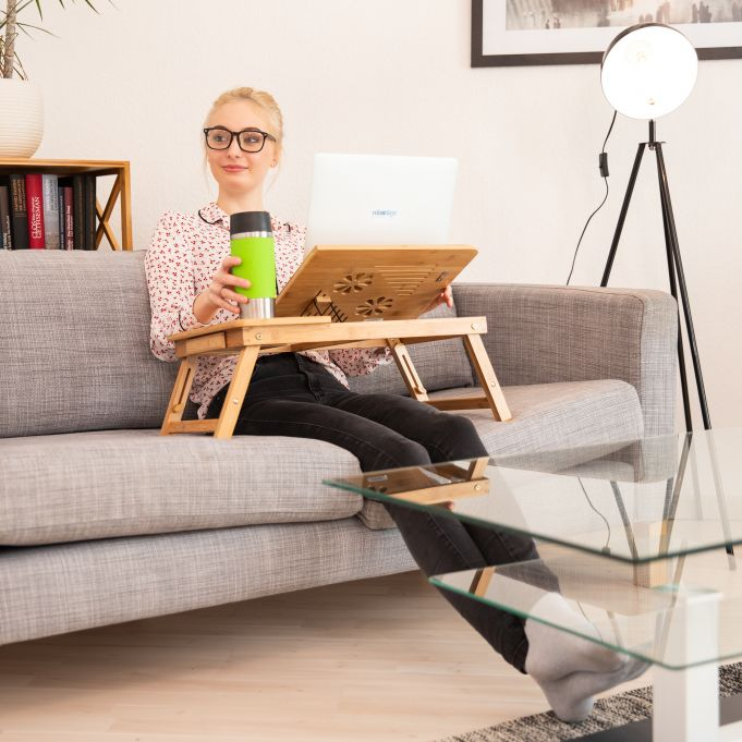 Height-Adjustable Bamboo Laptop Stand3