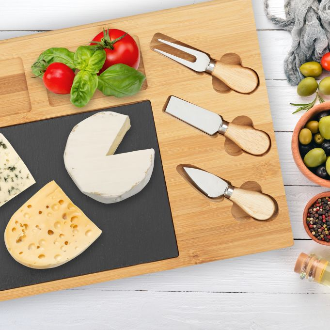 Cheese Platter Set with 3 Knives3