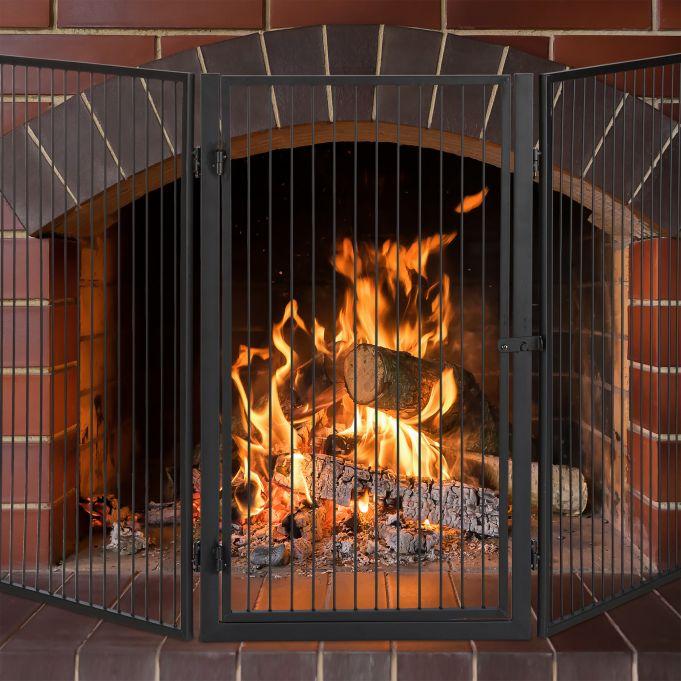 Protector de chimenea con puerta2