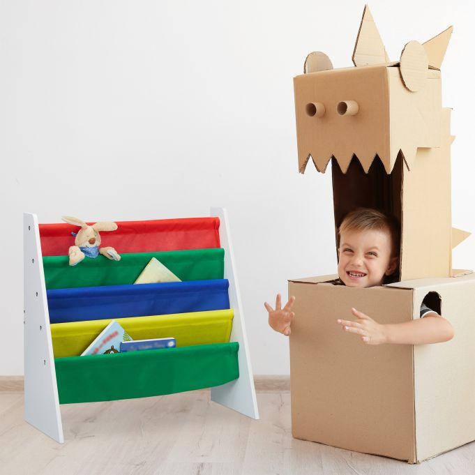 Bücherregal für Kinder mit Stofffächern2