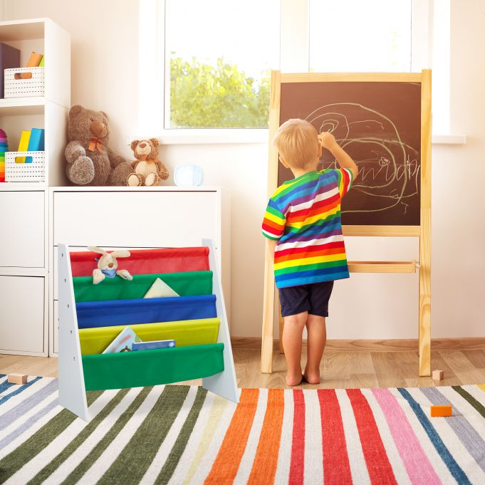 Bücherregal für Kinder mit Stofffächern3