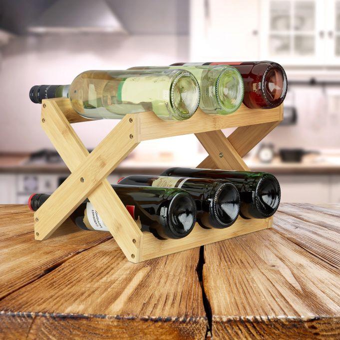 Portabottiglie di vino in bambù a X2