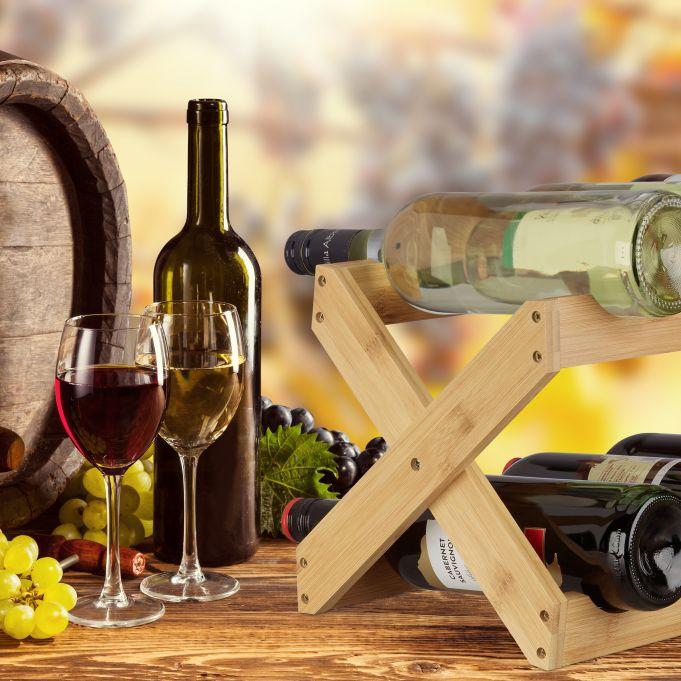 Portabottiglie di vino in bambù a X3