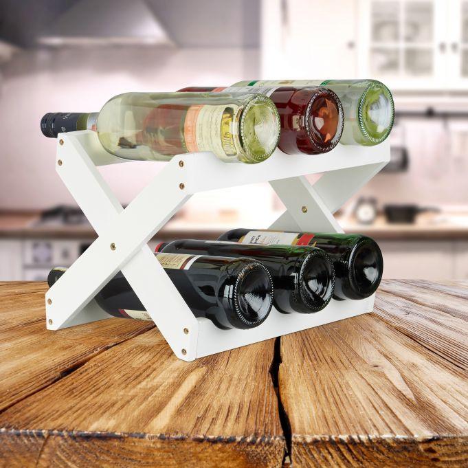 X-Shape Bamboo Wine Rack in White2