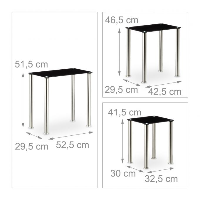 Black Glass Nested Table Set of 34