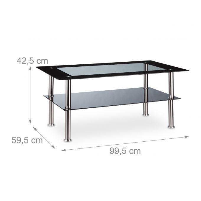 Table Basse en Verre Noir Pieds en Inox4