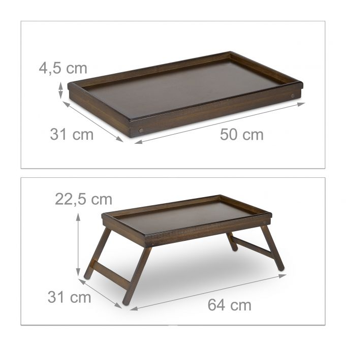 Dark Brown Bamboo Bed Tray4